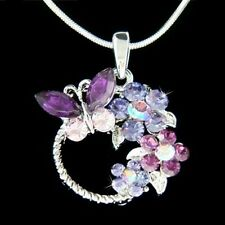 w Swarovski Crystal ~Purple BUTTERFLY Flower Family Wreath~ Pendant Necklace New