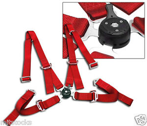 """1 RED 4 POINT CAMLOCK QUICK RELEASE RACING SEAT BELT HARNESS 2"""" MITSUBISHI"""