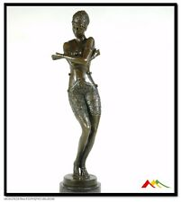 "signd PREISS, Bronze statue art deco girl bronze sculpture ""Coy Dancer"""