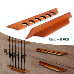 Fishing Rod Rack Display Pole Holder Wall Mounted 6 Rods Rack Stand Home Garage