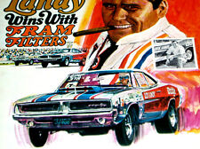 1969 DODGE CHARGER DICK LANDY ORIGINAL FRAM AD *426 HEMI/rt/steering wheel/hood