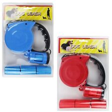 16 ft Retractable Dog Leash with Waste Bags and Dispenser Blue Red