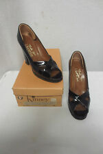 Vintage 1940's Style Black Patent Peep Toe Platform Heel Shoes Strappy