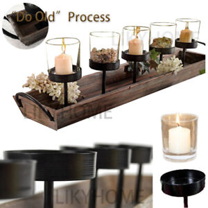 Metal Candle Holder Lantern Wooden Tray Glass TeaLight Vintage Wedding Home Deco