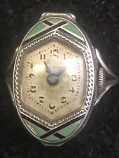 RARE ANTIQUE CARL BUCHERER WATCH RING ART DECO .935 Silver 15 Jewels