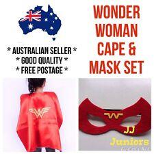 *Oz Seller* Kids Wonder Woman Cape Mask Costume Set Girls Superhero Red Birthday