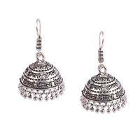 Oxidized Silver Plated Dangle Drop Hindi Words Written Jhumka Jhumki Earrings