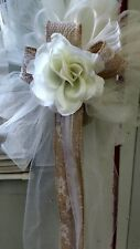 BURLAP 10 PC IVORY WEDDING PEW BOWS BURLAP & LACE EXTRA BURLAP RIBBON & CLIPS