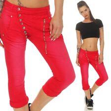 Damen Capri Sommer Jeans Hose Bermuda Stretch Shorts knielang 34 36 38 40 42 rot