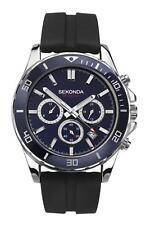 Sekonda Gents Chronograph Watch Black Silicone Strap & Blue Dial 1709