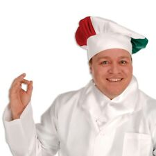 ITALIAN CHEFS HAT OF ITALY RED WHITE GREEN OVERSIZED GOOD QUALITY CLOTH HAT