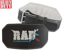 "RAD Leather Black Belt 6"" Gym Power Heavy Duty Weight Lifting Bodybuilding S-XL"