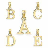 14k Yellow Gold Polished Block Initial Charm Pendant Letter A - Z