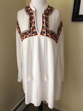 NEW ZARA TRAFALUC White Embroidered Peasant Blouse Top Shirt Ethnic Folk Size XS