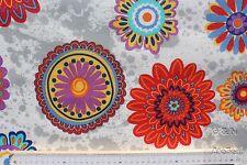 Stoff Baumwolle-Polyester beschichtet, Informal, Blumen, weiß/hellgrau, 140 cm