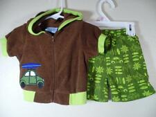 Carters Boys Brown Hooded Terrycloth Surfboard Cover-Up Jacket & Swim Trunks 12M