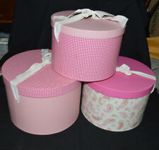 GIRL'S POTTERY BARN 3 VINTAGE LARGE ROUND NESTING HAT BOXES PINK GREEN WHITE