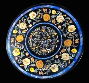 21 Inches Flowers Art Elegant Center Table Top Round Marble Coffee Table Top