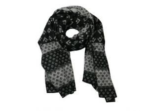 Sciarpa uomo nera e grigia con disegni astratti geometrico