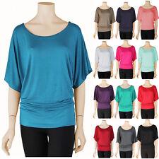 Women S~3X Dolman Boatneck Top Half Wide Sleeve T Shirt Batwing Loose Fit Plus