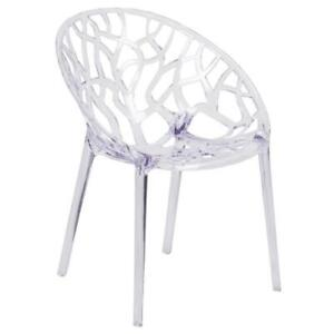 Specter Series Transparent Oval Shaped Stacking Side Chair with Artistic Pattern