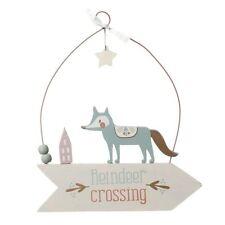 Wooden Hanging Reindeer Crossing Sign Christmas Decoration