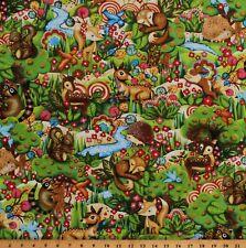 Cotton Cute Baby Animals Bunny Fox Woodland Kids Fabric Print BTY D751.02
