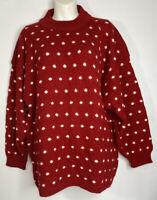 Venezia Vtg Sweater Oversized Red White Dot Cable Knit Acrylic Blend XL -XXL