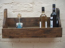 Rustic wine shelf, reclaimed wood, 50cm handmade, medium oak, FREE DELIVERY!