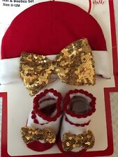 Hat And Bootie Set Christmas Size 0-12mo