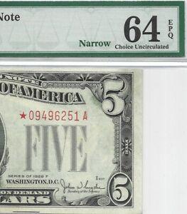 1928F $5 * STAR * ⭐️ LEGAL TENDER BANKNOTE PMG CHOICE UNCIRCULATED 64 EPQ NARROW