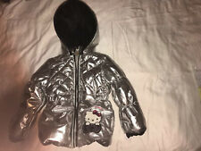 Hello Kitty Silver Puffer Jacket With Hood Sz 4T