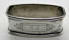 Webster Sterling Silver Napkin Ring  RJ JR Monogram Initials Oblong Rectangular