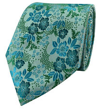 Uk Turquoise Pastel Blue Green Aqua Wedding Tie Paisley Floral Silver Gift
