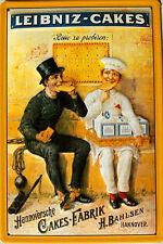 Blechpostkarte Leibniz Cakes Hannover Bäcker und Schornsteinfeger Reklame #