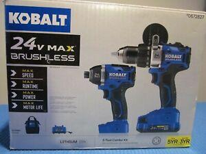 NEW KOBALT 0672827 DRILL AND IMPACT DRIVER SET BRUSHLESS 24V MAX wBATT & CHARGER