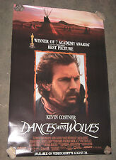 Dances With Wolves Original 1990 VHS Video Movie Double Sided Poster 25x38