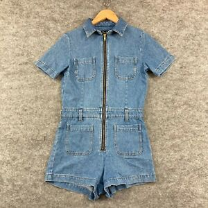 Bardot Womens Playsuit Romper Size 10 Blue Denim Short Sleeve Collar Zip 298.35