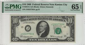 1969 $10 FEDERAL RESERVE NOTE KANSAS CITY FR.2018-J JA BLOCK PMG GEM UNC 65 EPQ