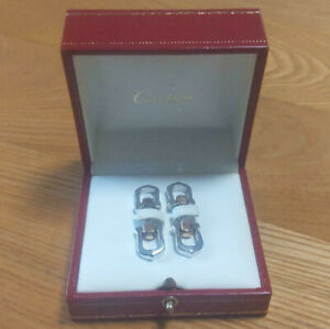 CARTIER Cufflinks 925 Sterling Silver Elongated C Gold SV925 in Box