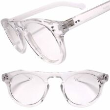 Classic Keyhole Nose Bridge Round Clear Lens Horn Rimmed Transparent Eye Glasses