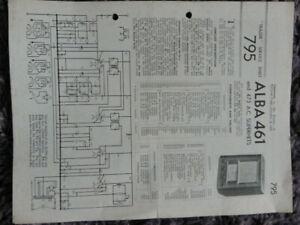 Alba 3841 3 Band Super Het AM FM Table Receiver radio Service manual