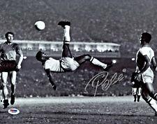 Pele Signed 11x14 Soccer Photo Bicycle Kick - Autographed PSA/DNA COA