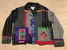 Faith Brand Womens Size M Jacket Patchwork Art Beaded Button Down Top