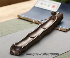 Chinese Ceramics Handmade Golden Cicada Bamboo Joint Incense Stick Burner Censer