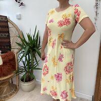 Vintage 90's Pretty Laura Ashley Long Yellow Dress w/ Pink Floral Pattern Sz 10