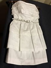 French Connection White 8 Above Knee Cocktail Solid 100% Cotton Corset New