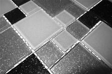klein Muster Schwarze, weiße und silberne Glasmosaikfliesen Glitzereffekt MT0034