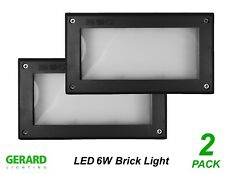 2 X 6w LED Brick Lights Black Recessed Wall Light Plain Face 225 X 125mm Ip66
