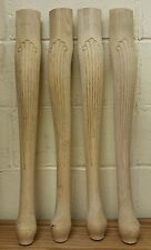 "Set of 4 Unfinished Oak Table Legs Queen Anne Style 21 1/4"" x 3"""